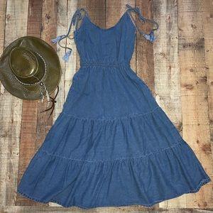 ASOS | Denim Tiered Hem Sleeveless Maxi Dress